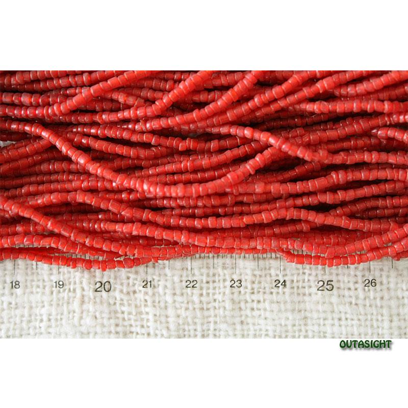 ビーズネックレス レッド 32連 アンティーク ネパール NAN-06