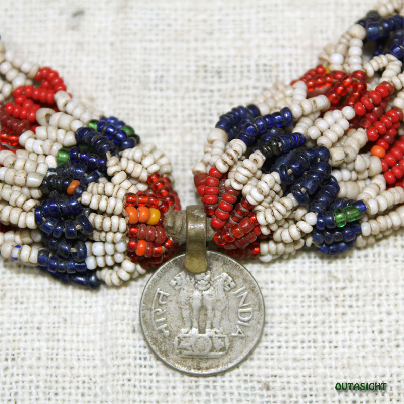 ビーズネックレス アンティーク タル族 ネパール 1001-A