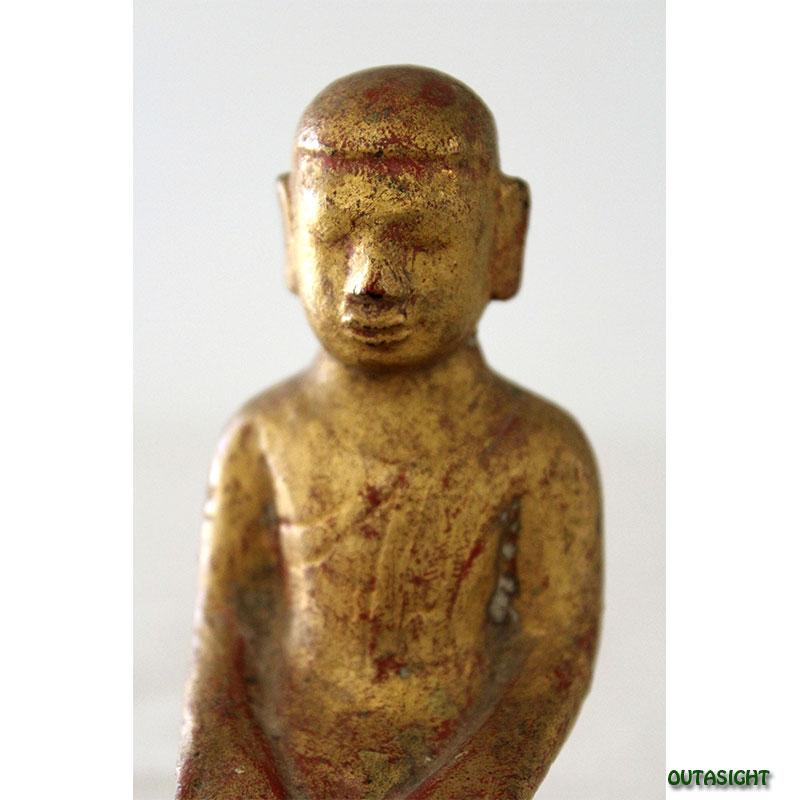木彫り像 僧侶 漆塗り 金塗り アンティーク ミャンマー TAS-06