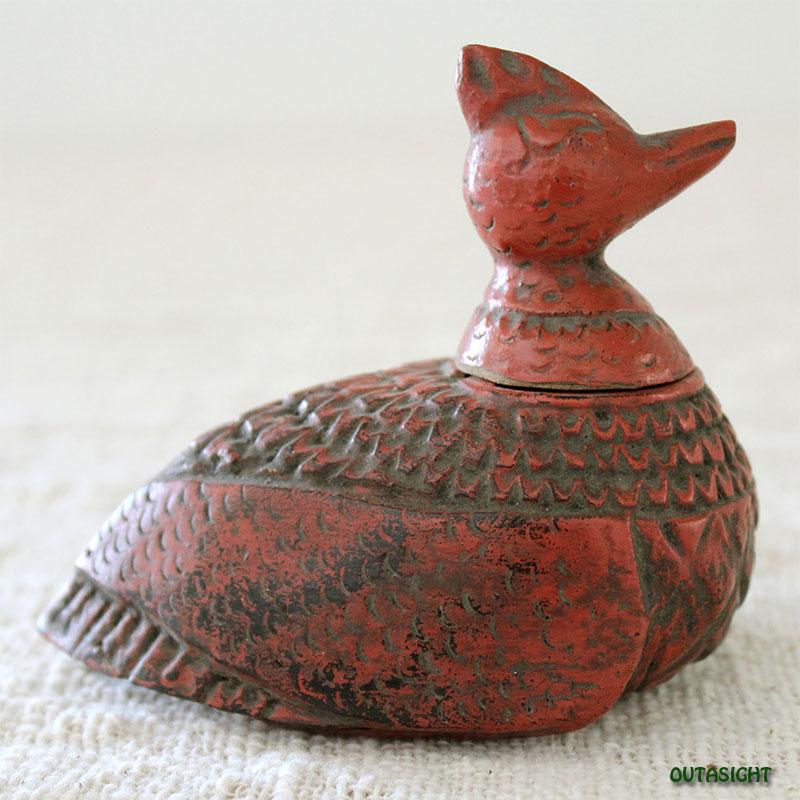 木彫 鳥のモチーフ・メディスンボックス 漆塗り アンティーク タイ  TAS-10