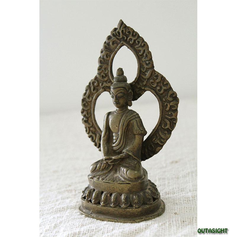 ブッダ 仏陀 真鍮製像 アンティーク ネパール NAS-05