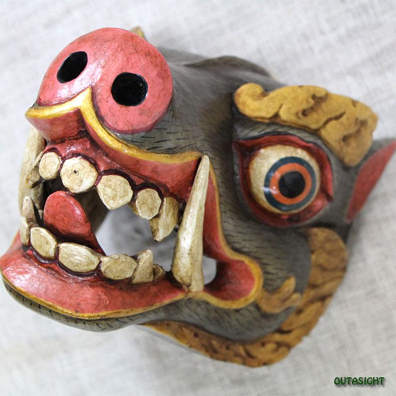 木彫りマスク(お面) ブータン風 ネパール NNM-44