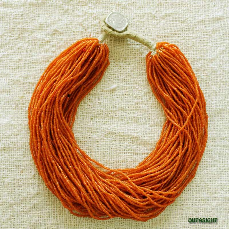 ビーズネックレス オレンジ 62連 アンティーク ネパール NAN-10