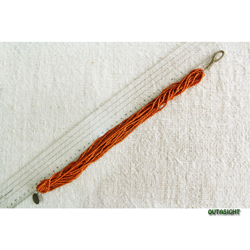 ビーズネックレス オレンジ 16連 アンティーク ネパール NAN-11
