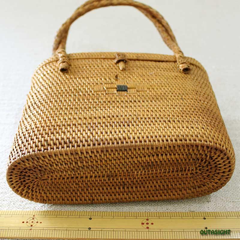 アタバッグ 手さげ 楕円筒形 蓋付 バリ島 INNB-45