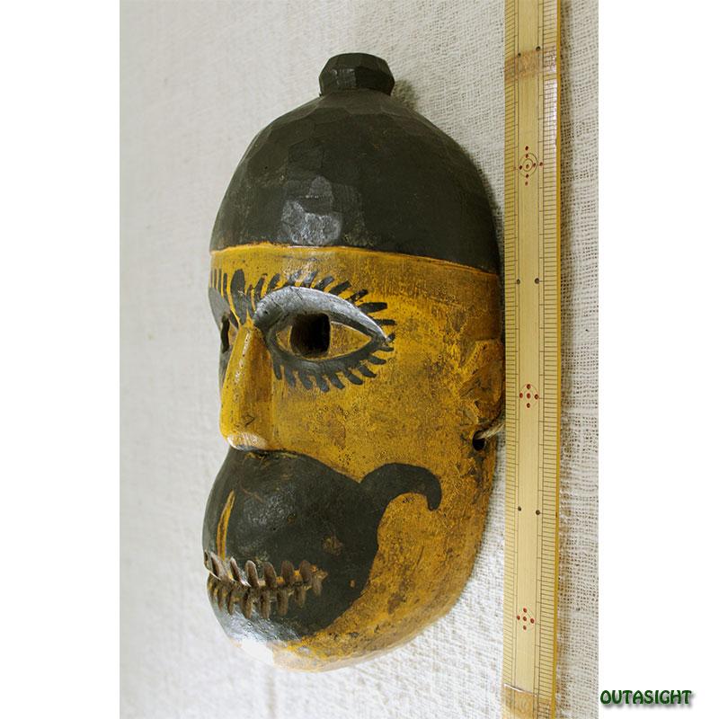 木彫りマスク(お面) ハヌマン アンティーク ネパール NAM-11
