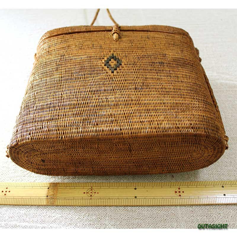 アタバッグ ショルダー (L) 楕円筒形 蓋付 バリ島 INNB-50