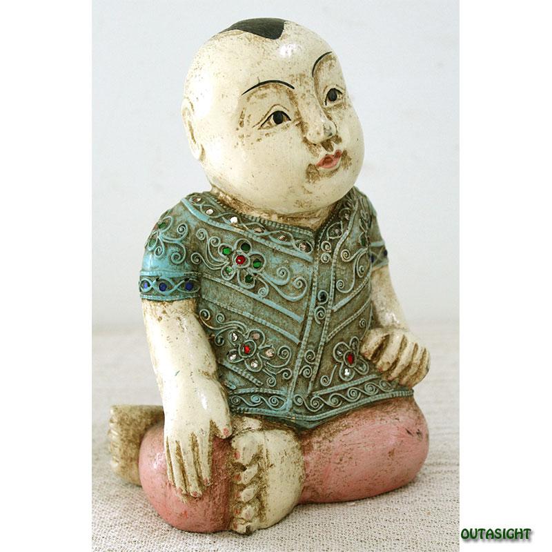 木彫り像 幼な子 彩色 タイ TNS-08