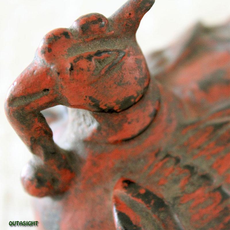 木彫 鳥のモチーフ・メディスンボックス 漆塗り アンティーク タイ TAS-11