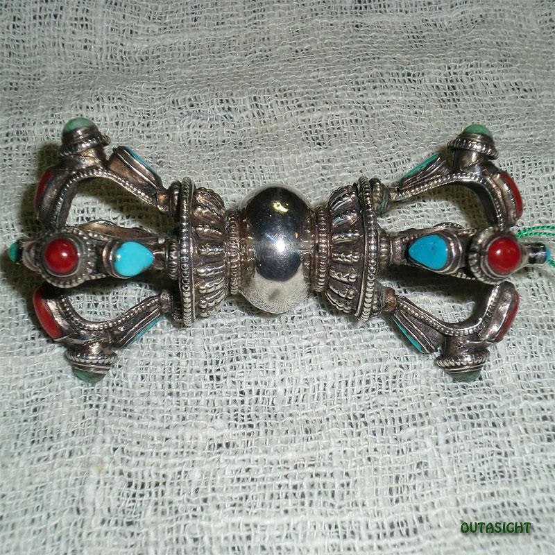 ドルジェ(金剛杵) チベット仏教法具 シルバー/半貴石