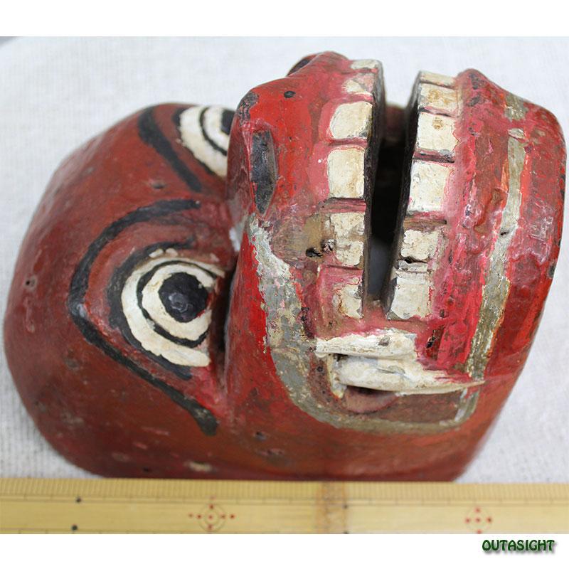 木彫りマスク(お面) ハヌマン アンティーク ジャワ島 INAM-03