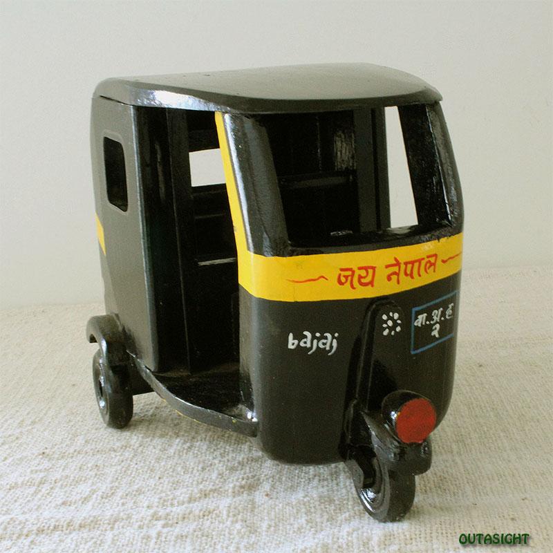木製 三輪オートリキシャ 彩色 新古品 ネパール NNO-08