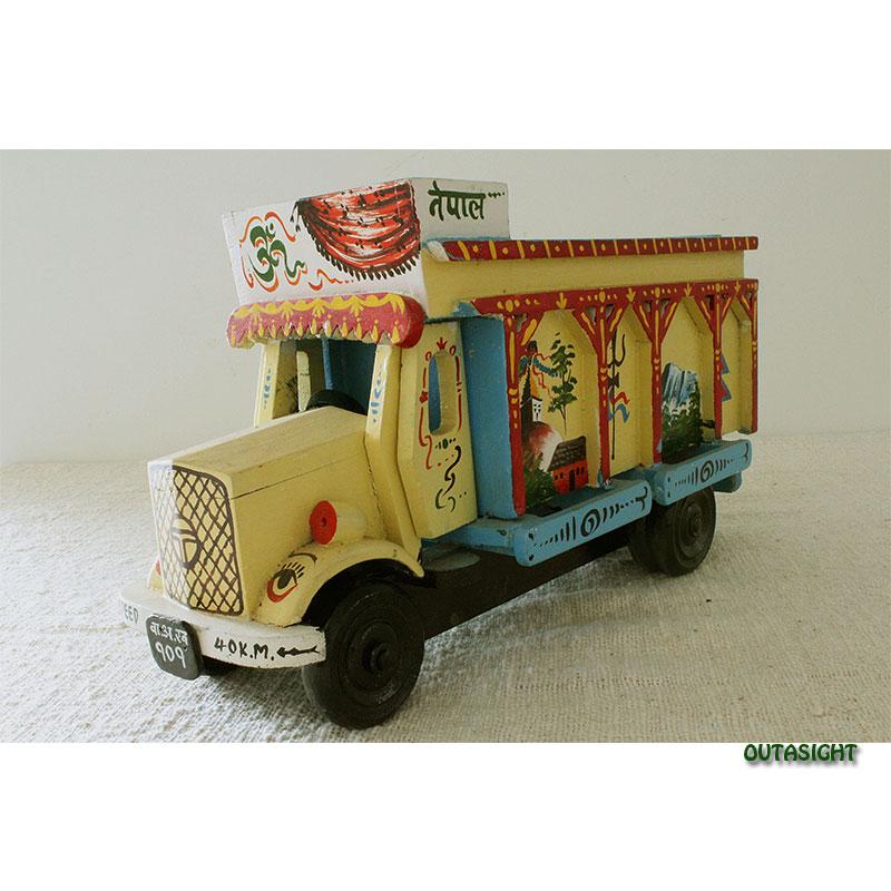 木製 貨物トラック 彩色 新古品 ネパール NNO-10