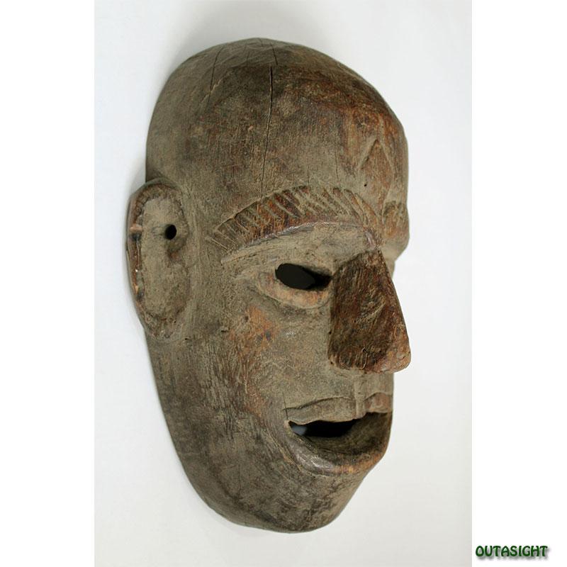 木彫マスク(お面) アンティーク ネパール NAM-09