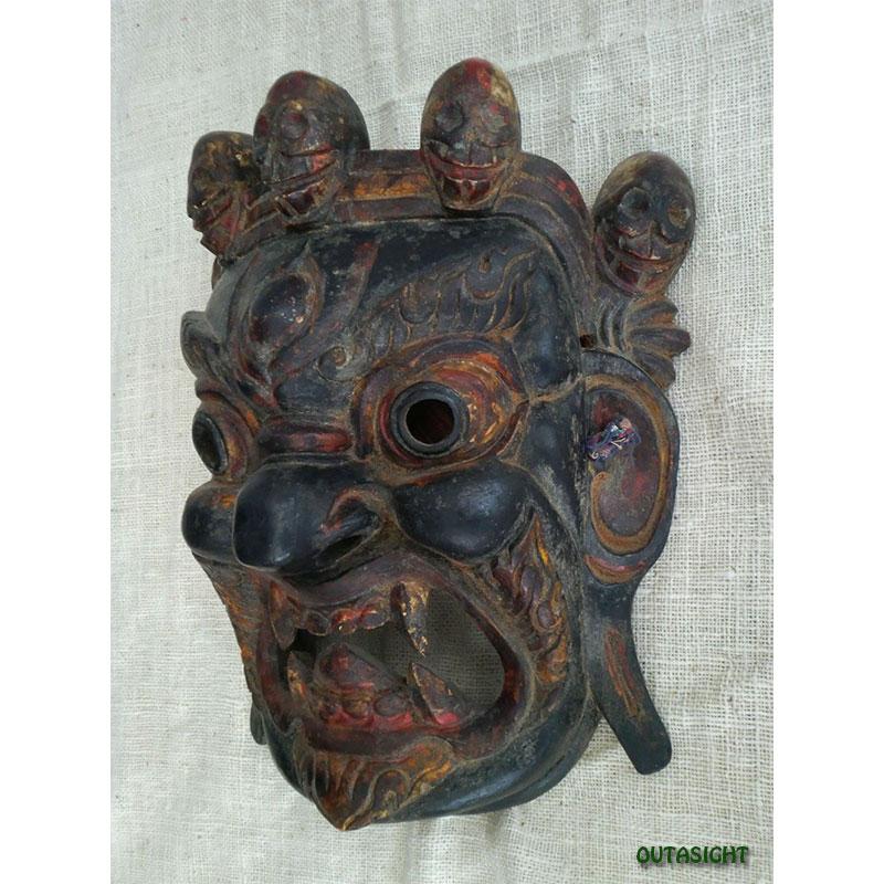 木彫りマスク(お面) チベット仏教マハーカーラ NNM-41