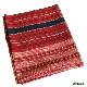 カレン族 綿手紡ぎ手織腰衣 赤系部分かすり黒縞模様 アンティーク タイ TMR-66