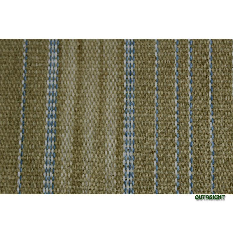 カレン族 綿手紡ぎ手織腰衣 ベージュ系部分かすり青縞模様 アンティーク タイ TMR-67