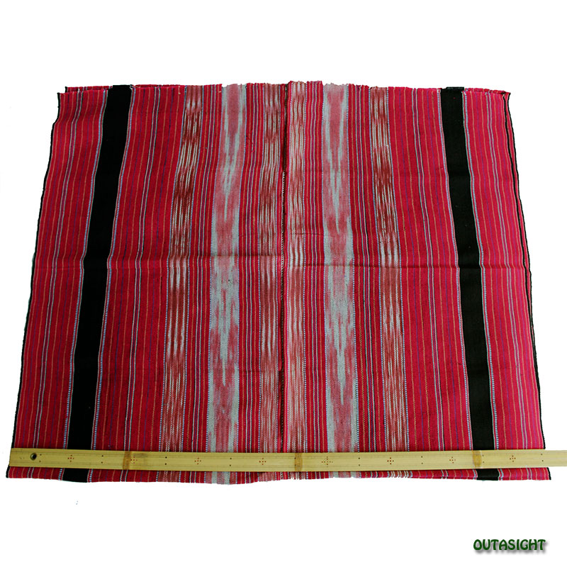 カレン族 綿手紡ぎ手織腰衣 赤系部分かすり黒縞模様 アンティーク タイ TMR-68