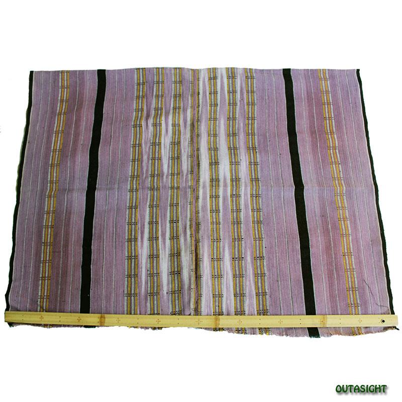 カレン族 綿手紡ぎ手織腰衣 浅紫部分かすり黒縞模様 アンティーク タイ TMR-69