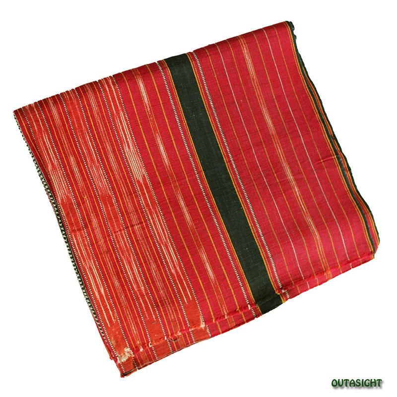 カレン族 綿手紡ぎ手織腰衣 赤系部分かすり黒縞模様 アンティーク タイ TMR-70