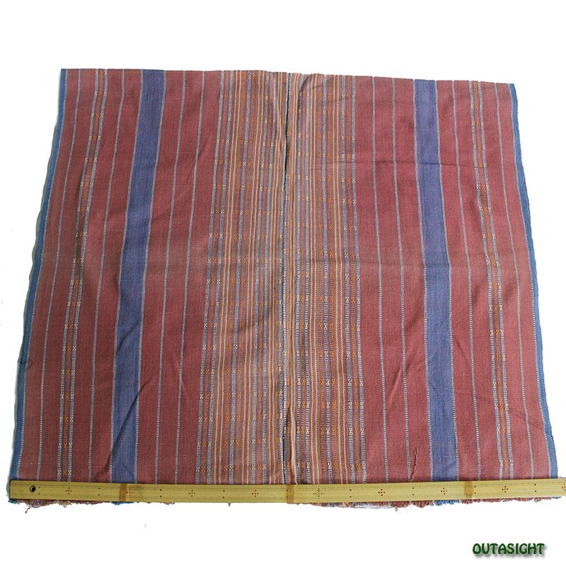 カレン族 綿手紡ぎ手織腰衣 鳶(とび)色藍縞 アンティーク タイ TMR-71