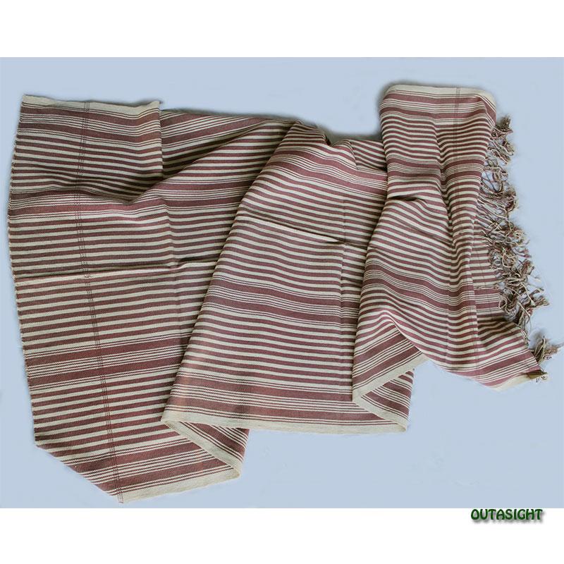 カレン族 綿手紡ぎ手織ブランケット 葡萄茶(えびちゃ)生成り縞 A アンティーク タイ TMR-72