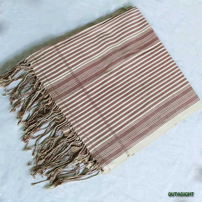 カレン族 綿手紡ぎ手織ブランケット 葡萄茶(えびちゃ)生成り縞 B アンティーク タイ TMR-73