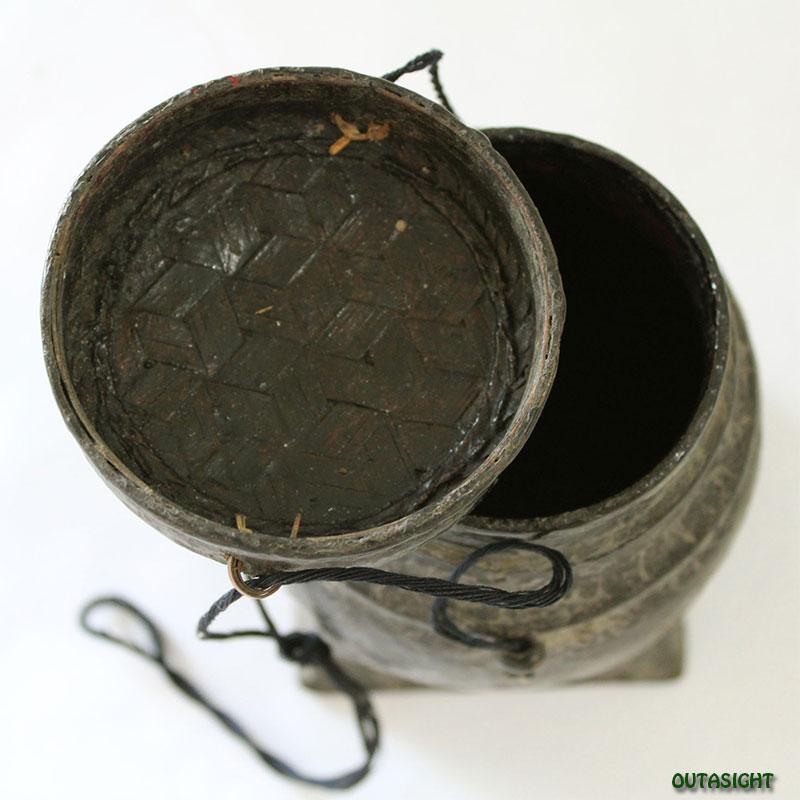 竹編みバスケット かご 漆塗り アンティーク タイ TAB-19