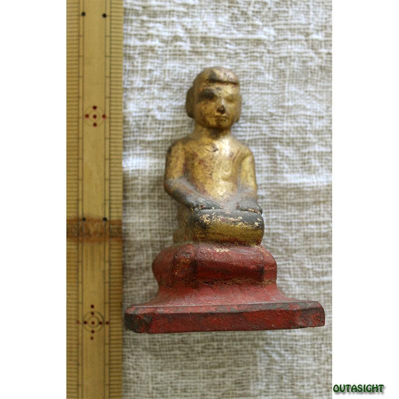 木彫り像 僧侶 漆塗り 金塗り アンティーク ミャンマー TAS-07