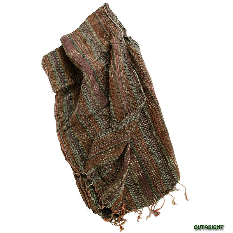 コットンスカーフ 手紡ぎ 手織 絣(かすり)入縞模様 タイ TNTS-02