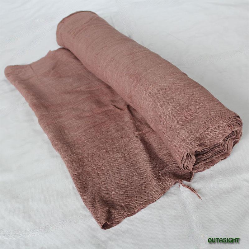 タイ コットン(木綿)反物生地 手紡ぎ 手織 白茶色 TNT-01