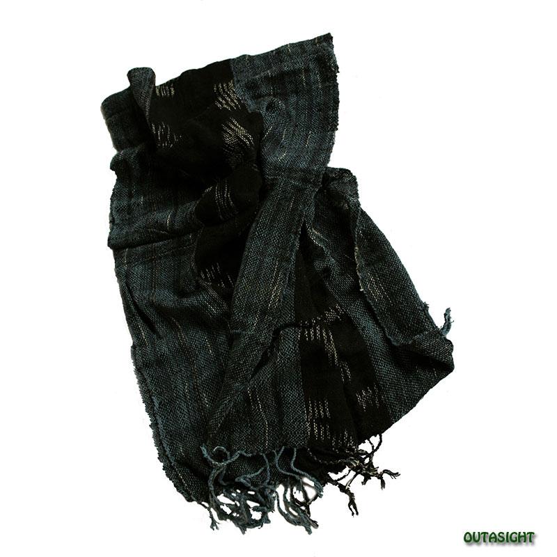 コットンスカーフ 手紡ぎ 手織 絣(かすり)入縞模様 タイ TNTS-04