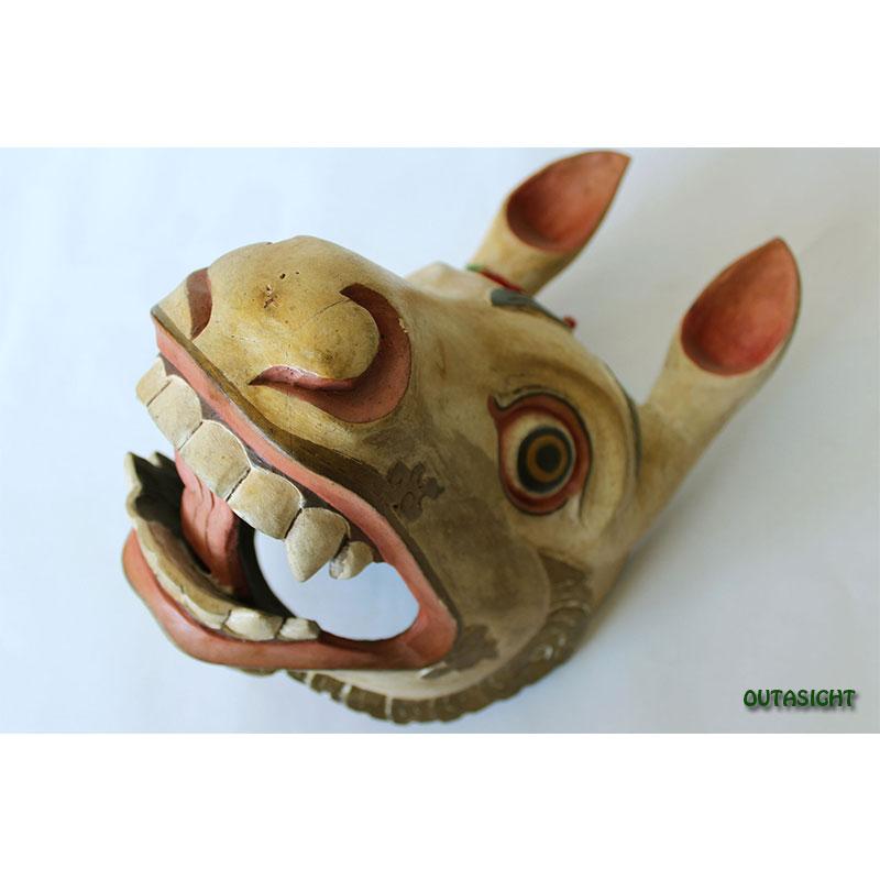 木彫マスク(お面) 聖獣 ブータン NNM-06