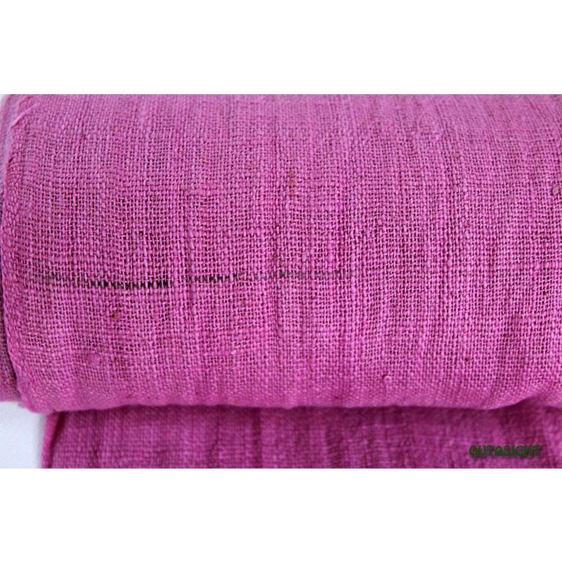タイ コットン(木綿)反物生地 手紡ぎ 手織 赤紫色 TNT-04