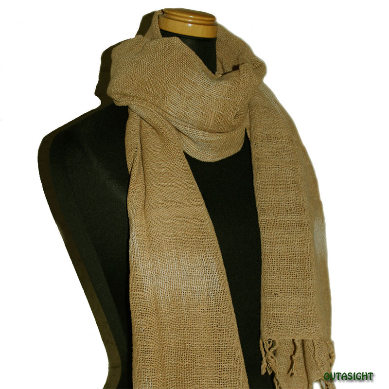コットンスカーフ 手紡ぎ 手織 榛(はしばみ)色絣(かすり) タイ TNTS-07