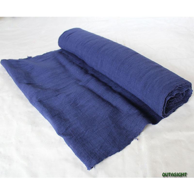 タイ コットン(木綿)反物生地 手紡ぎ 手織 紺藍色 TNT-06