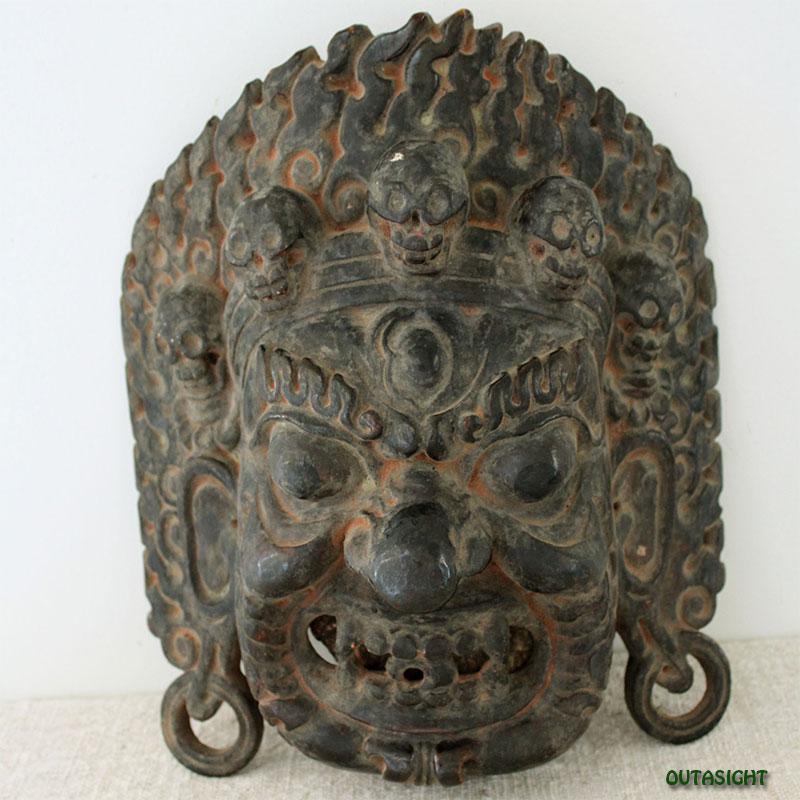 木彫りマスク(お面)  マハーカーラ ネパール NNM-25