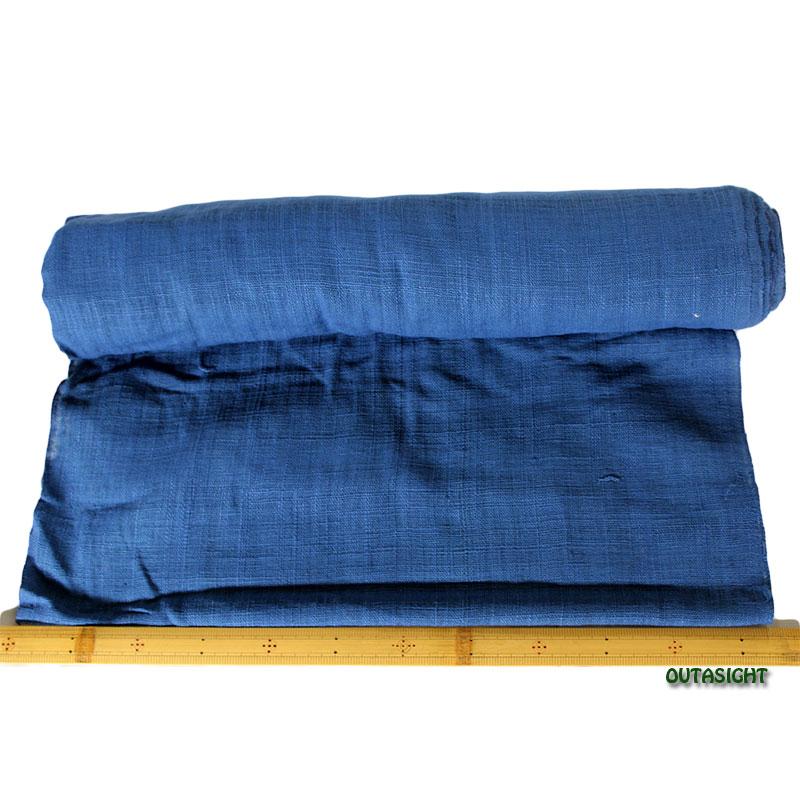 タイ コットン(木綿)反物生地 手紡ぎ 手織 薄群青色 TNT-08