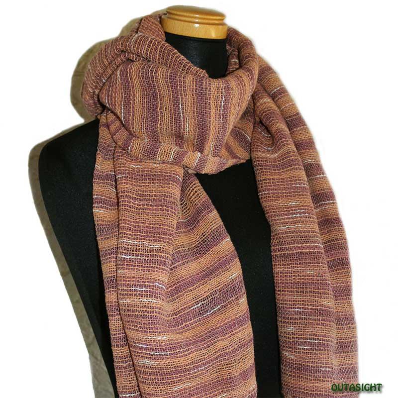 コットンスカーフ 手紡ぎ 手織 緯絣(よこがすり)縞模様 タイ TNTS-10