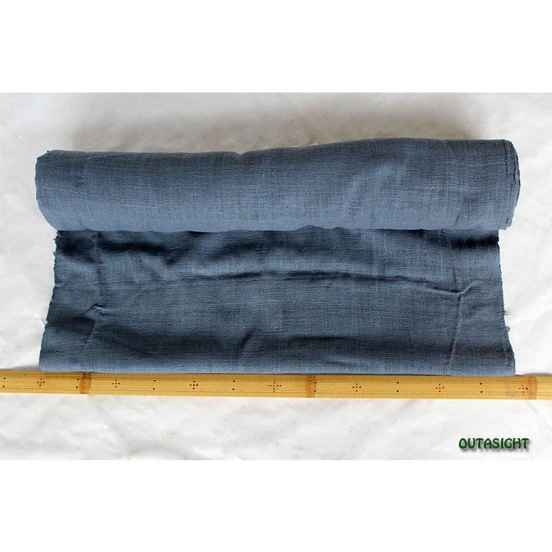 タイ コットン(木綿)反物生地 手紡ぎ 手織 藍鼠(あいねず)色 TNT-09