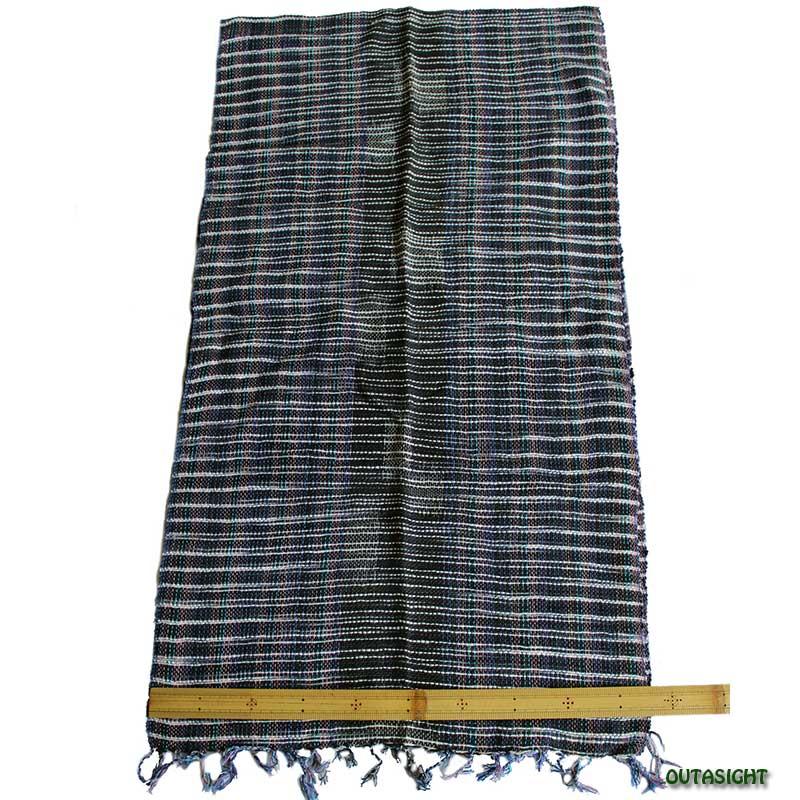 コットンスカーフ 手紡ぎ 手織 絣(かすり)縞模様 タイ TNTS-12