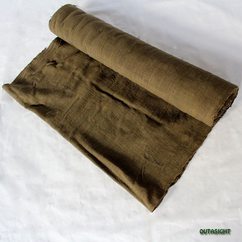タイ コットン(木綿)反物生地 手紡ぎ 手織 朽葉(くちば)色 TNT-12
