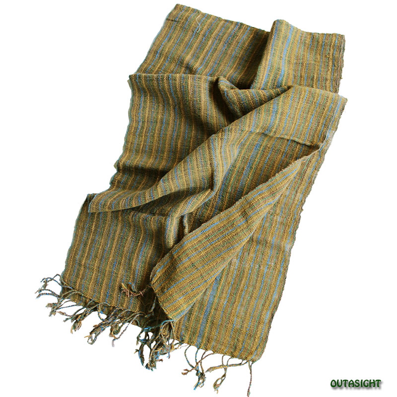コットンスカーフ 手紡ぎ 手織 縞模様 タイ TNTS-13