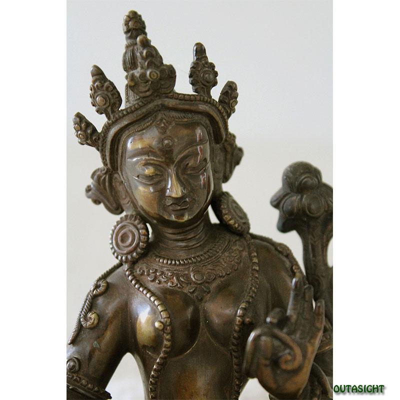 緑ターラー菩薩 多羅母菩薩 真鍮製像 ネパール NAS-10