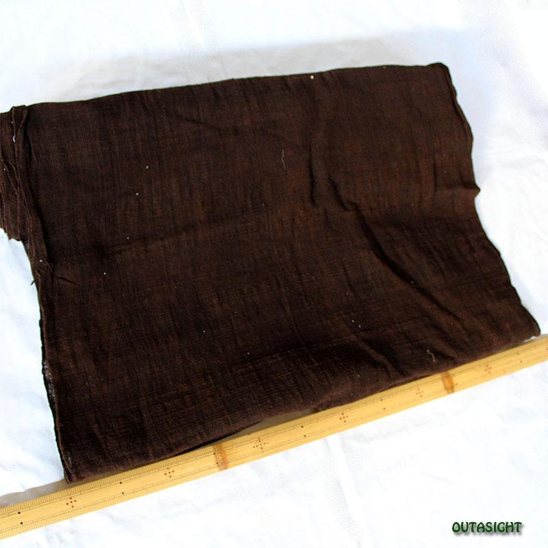 タイ コットン(木綿)反物生地 手紡ぎ 手織 黒檀(こくたん)色 TNT-14