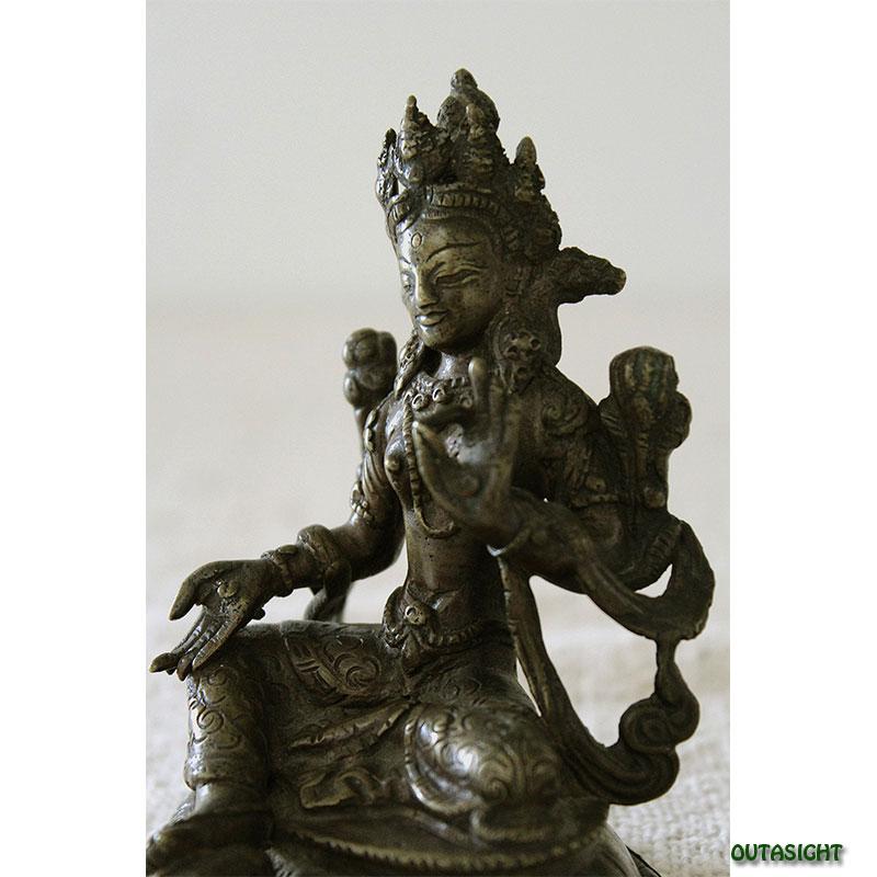 緑ターラー菩薩 多羅母菩薩 真鍮製像 ネパール NAS-11