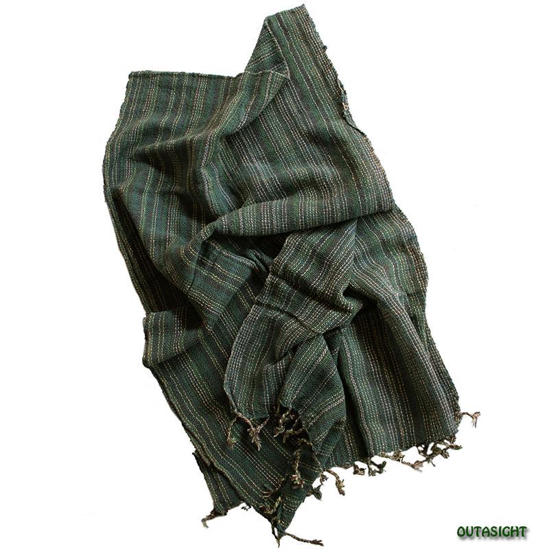 コットンスカーフ 手紡ぎ 手織 縞模様 タイ TNTS-15