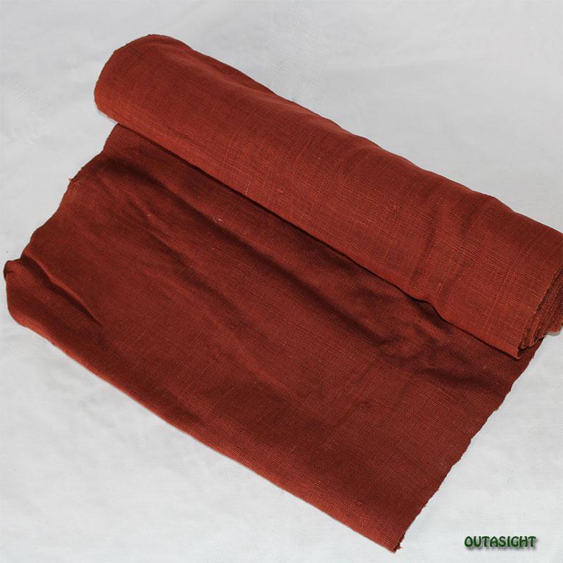 タイ コットン(木綿)反物生地 手紡ぎ 手織 赤銅(しゃくどう)色 TNT-15