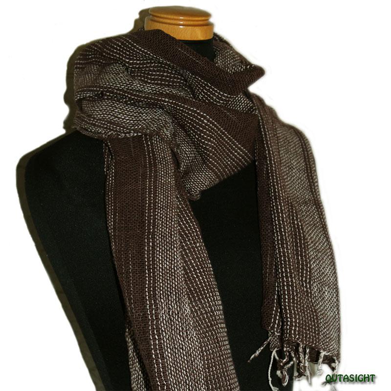 コットンスカーフ 手紡ぎ 手織 黒茶(くろちゃ)色縞模様 タイ TNTS-18
