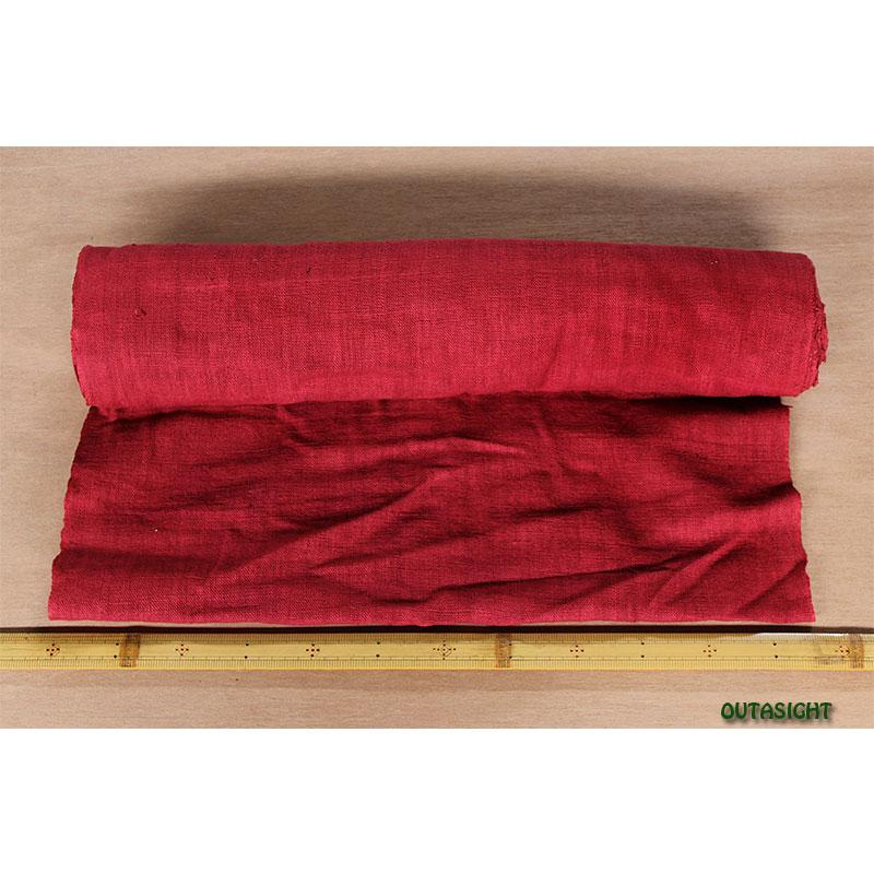 タイ コットン(木綿)反物生地 手紡ぎ 手織 紅赤色 TNT-18